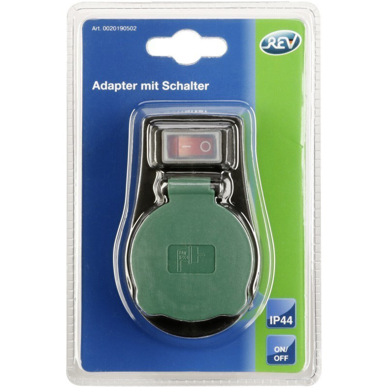 REV Adapter with Switch IP44 black-green