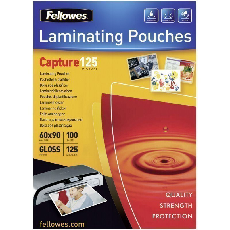 Fellowes Glossy 125 Micron Card Laminating Pouch - 60x90 mm