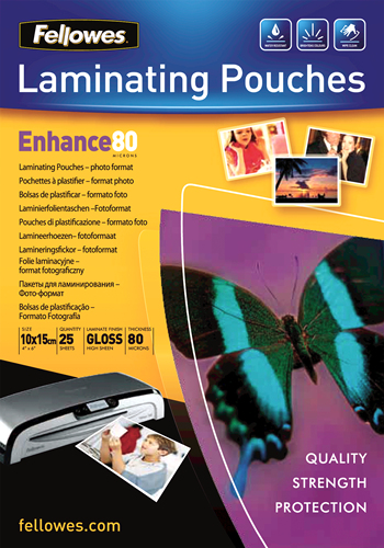 Fellowes Glossy 80 Micron Photo Laminating Pouch - 10x15cm