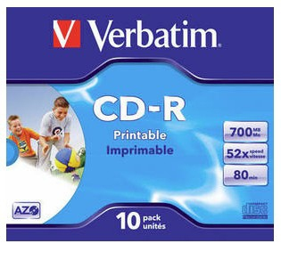 1x10 Verbatim Data Life Plus JC CD-R 80 / 700MB, 52x, printable