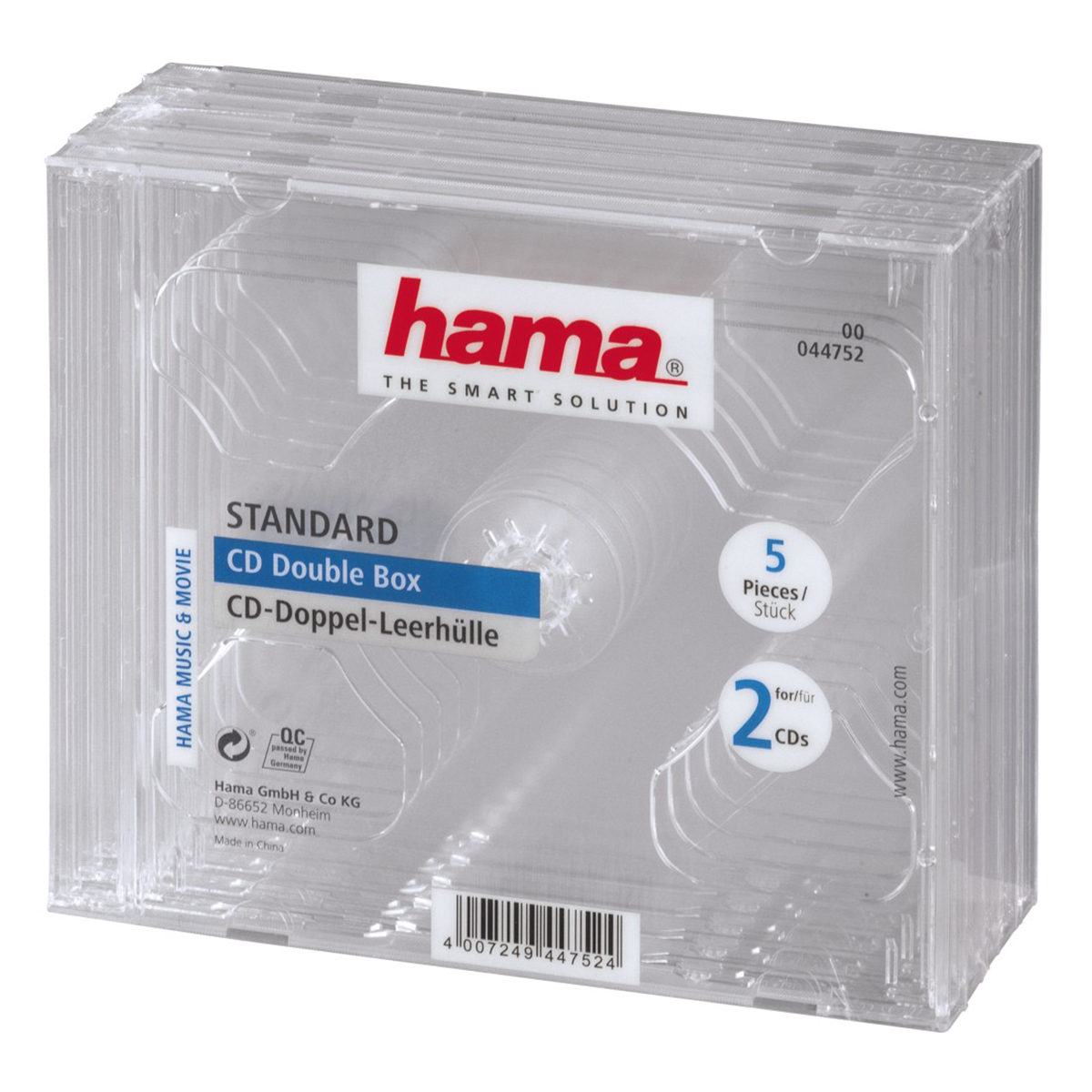 Hama CD-Double-Box     pack of 5 Transparent Jewel-Case     44752