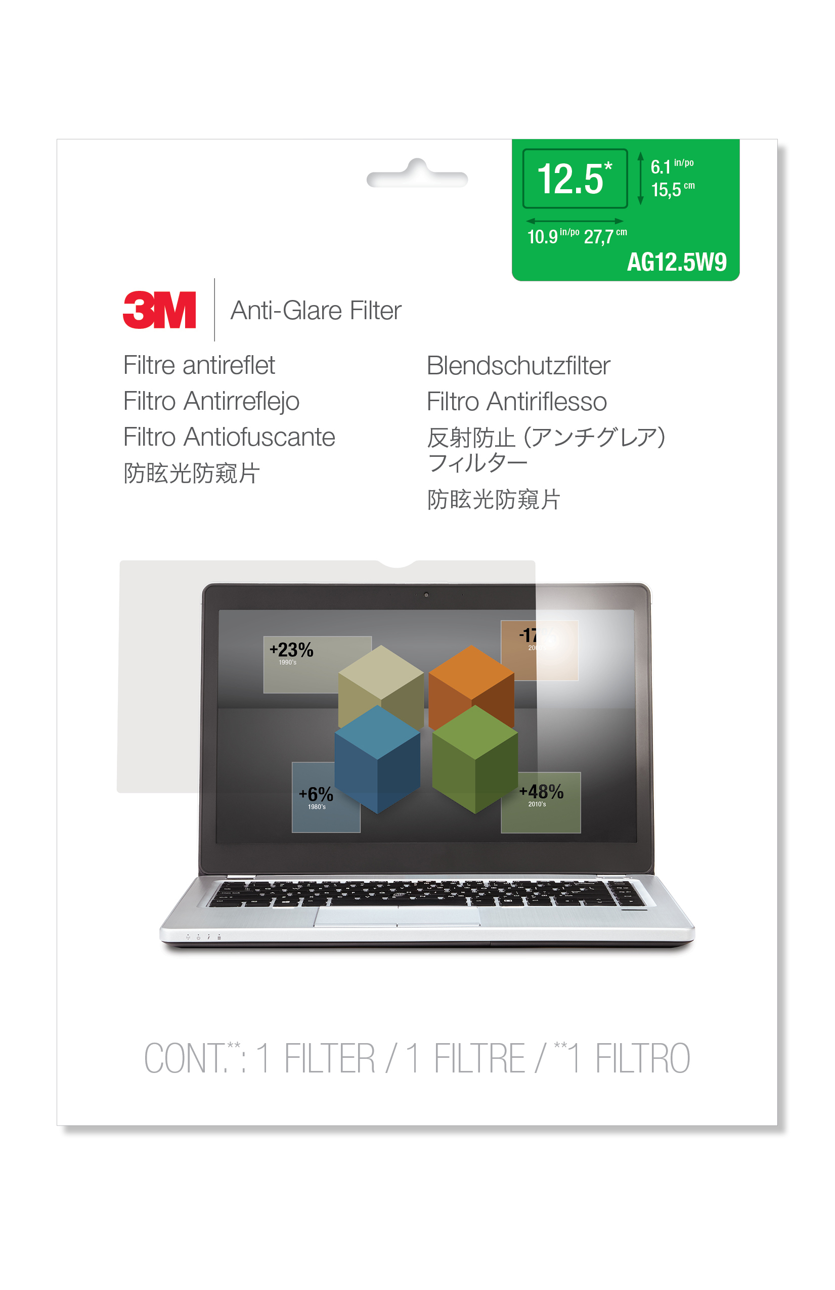3M AG125W9 Anti-Glare Filter for Widescreen Laptops 12,5