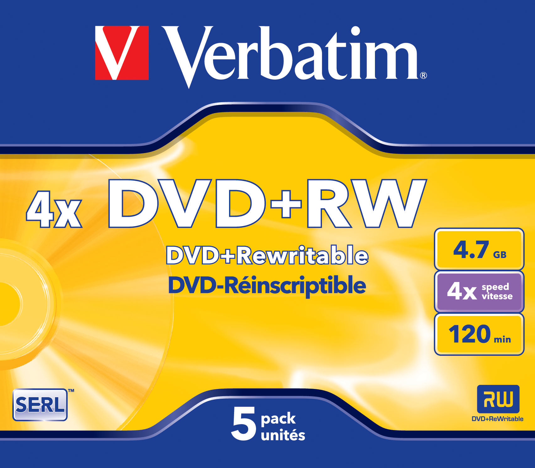 1x5 Verbatim DVD+RW 4,7GB 4x Speed, matt silver Jewel Case
