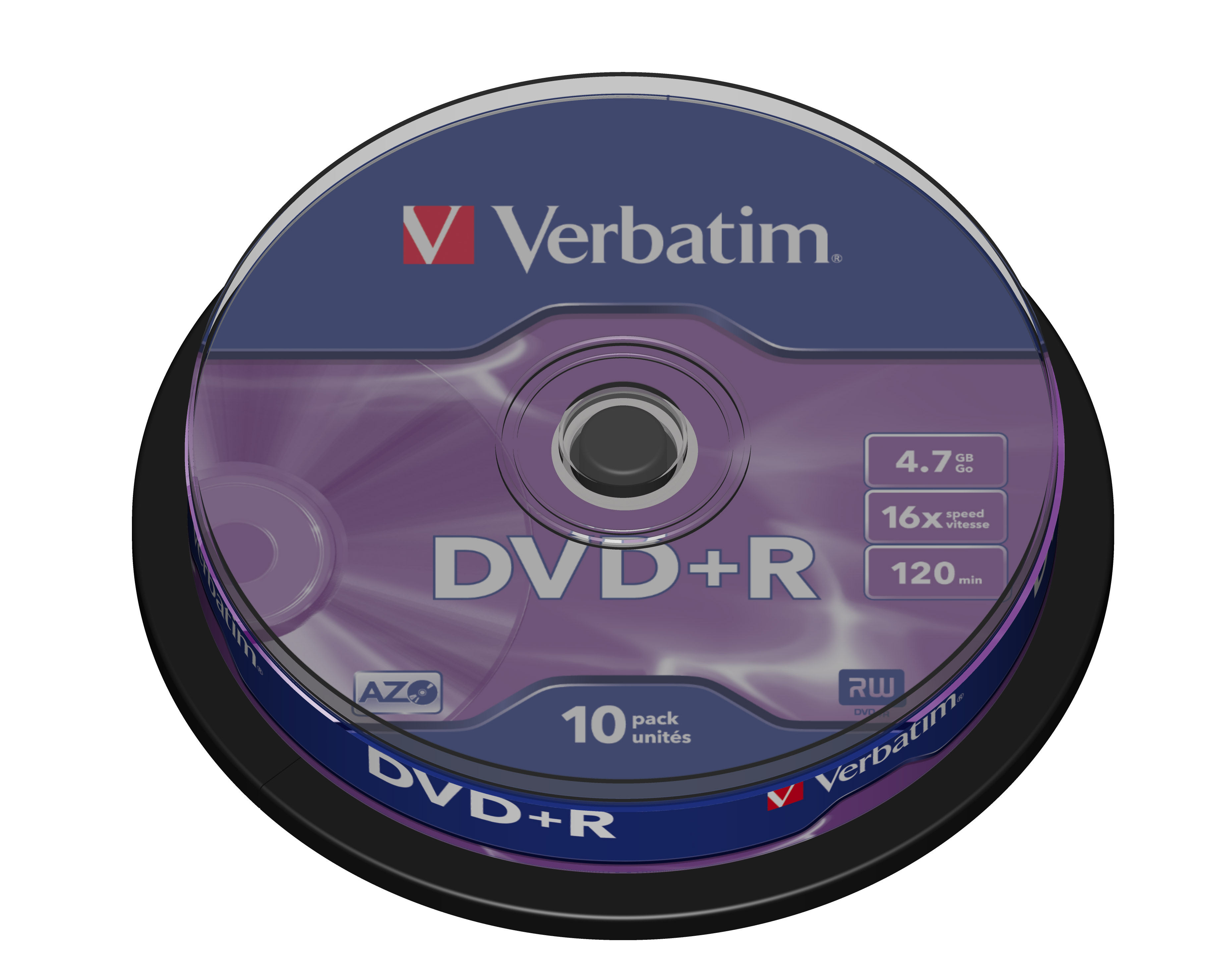 1x10 Verbatim DVD+R 4,7GB 16x Speed, matt silver Cakebox