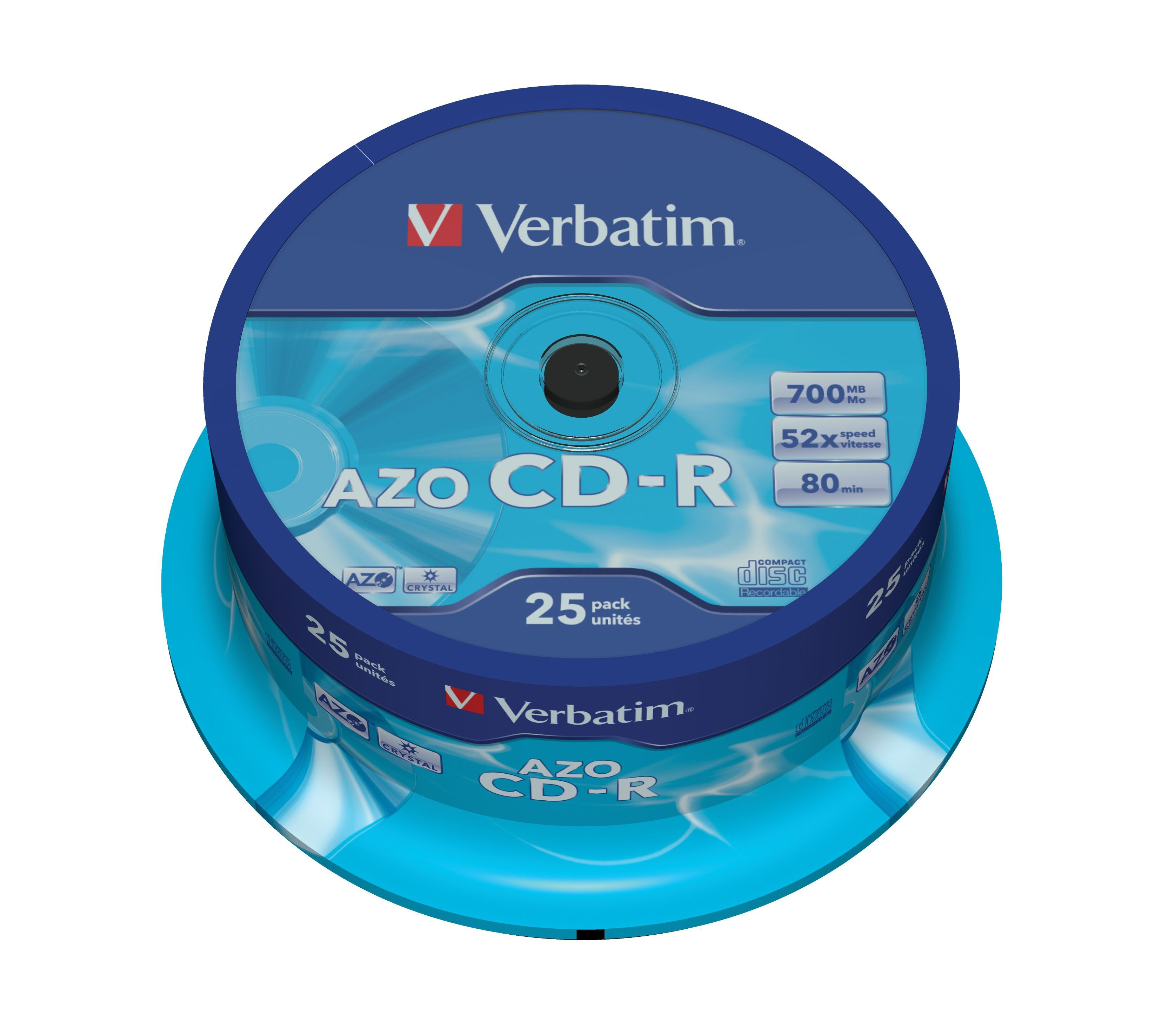 1x25 Verbatim Data Life Plus CD-R 80, 52x Speed, cake box