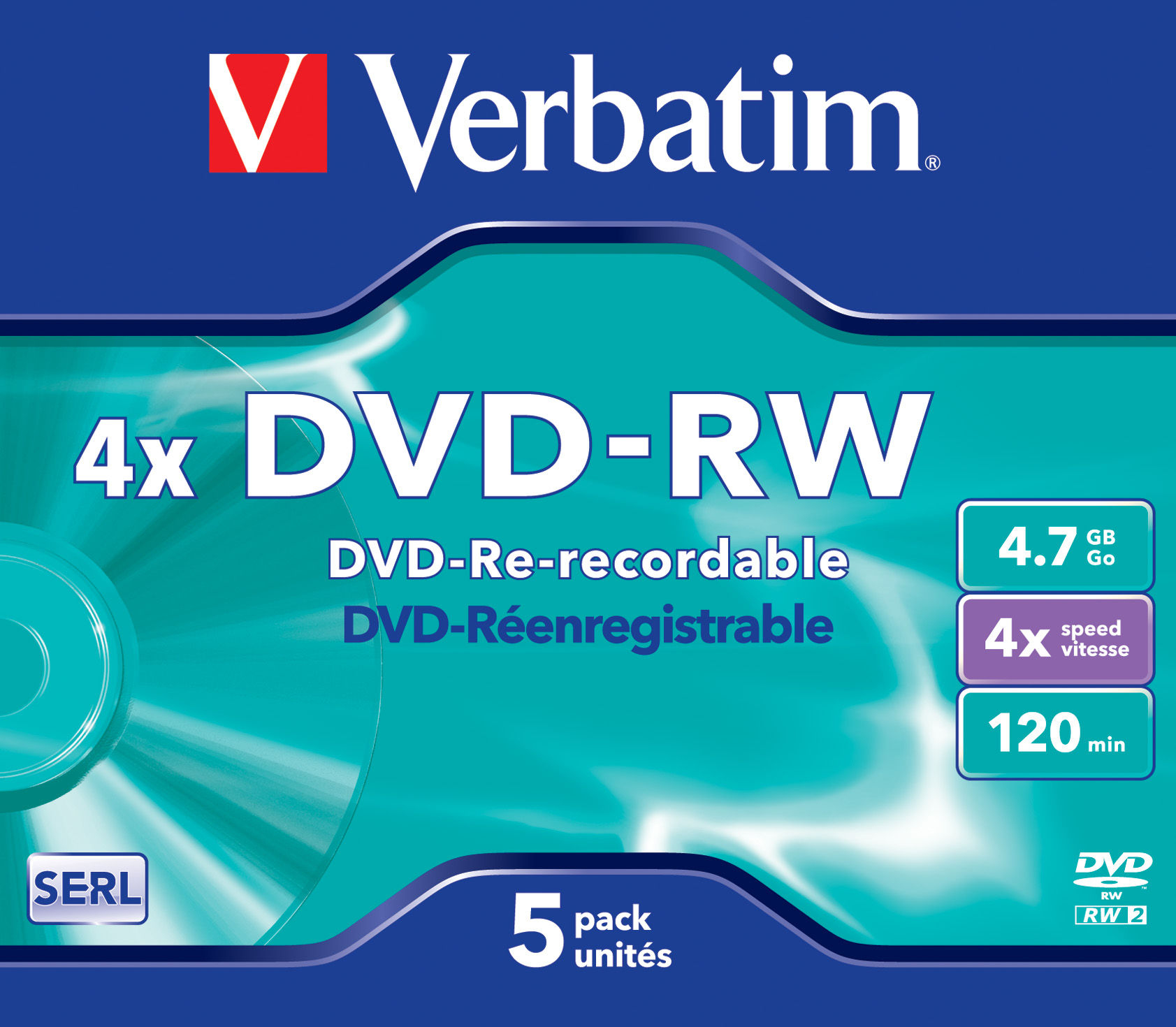 1x5 Verbatim DVD-RW 4,7GB 4x Speed, Jewel Case
