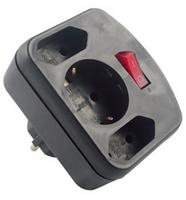 REV Adapter surge protection black, 3-gap, switch