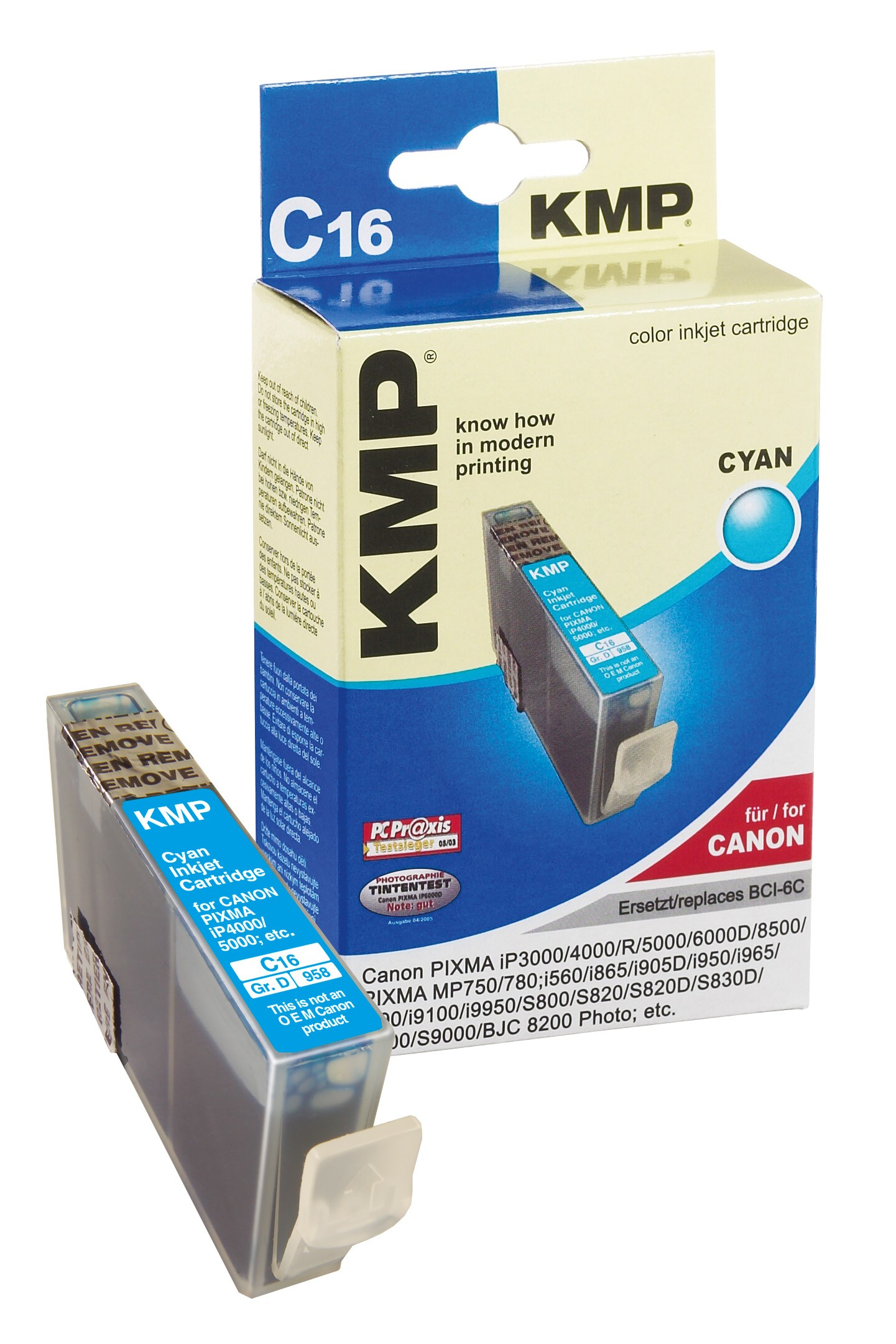 KMP C16 ink cartridge cyan compatible with Canon BCI-6 C