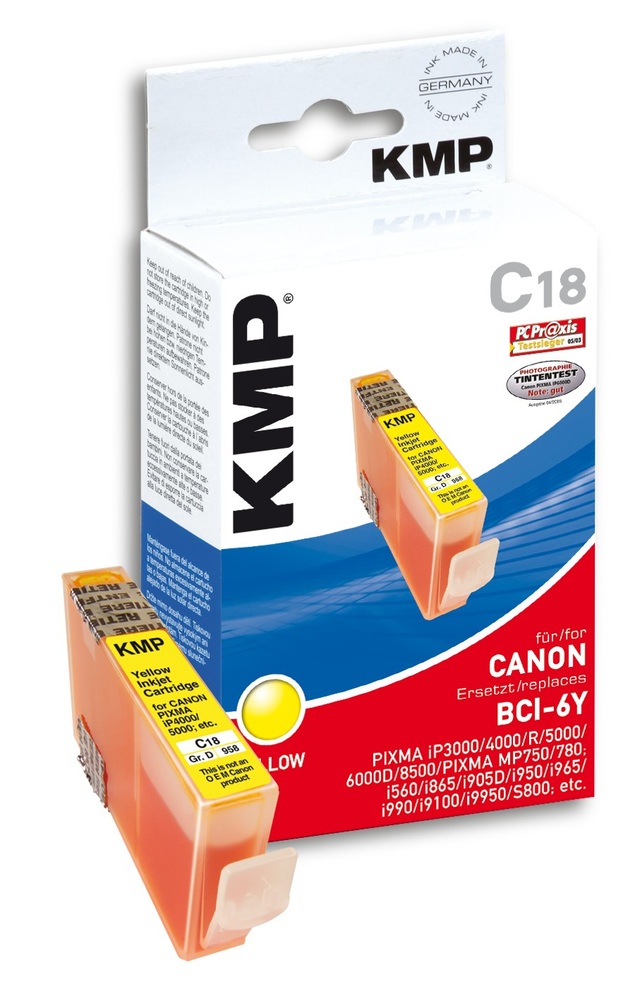 KMP C18 ink cartridge yellow compatible with Canon BCI-6 Y