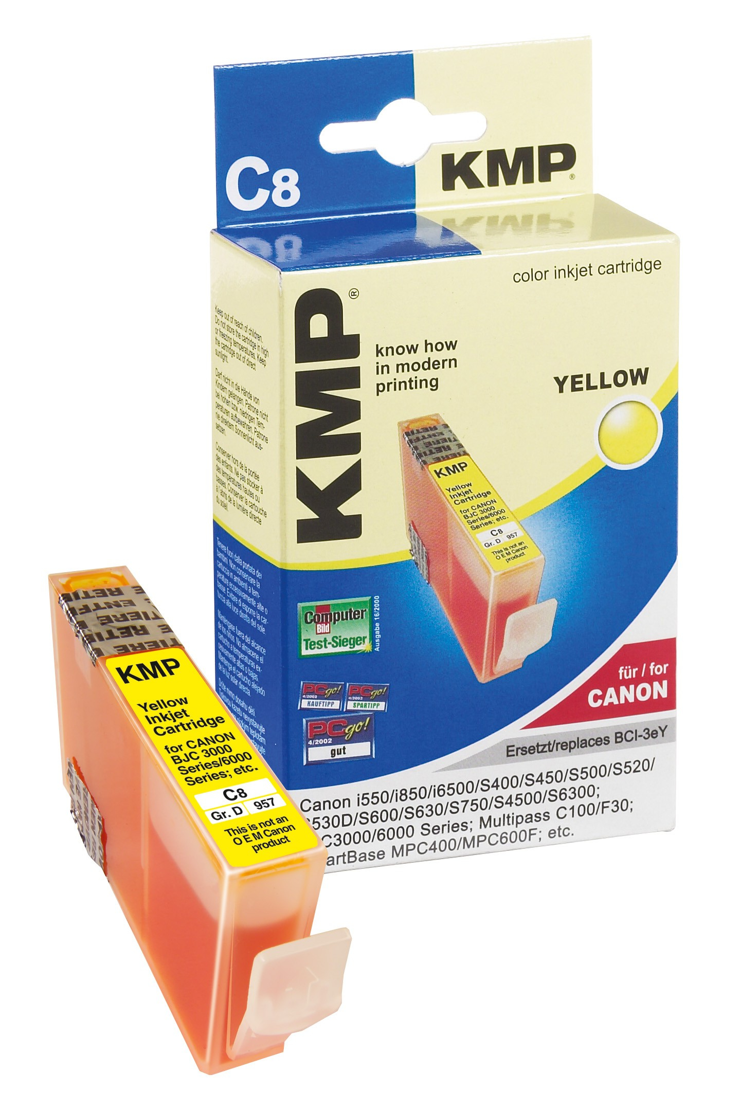 KMP C8 ink cartridge yellow compatible with Canon BCI-3e Y