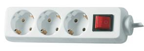 REV Socket line    3-fold 1,4 m white with switch