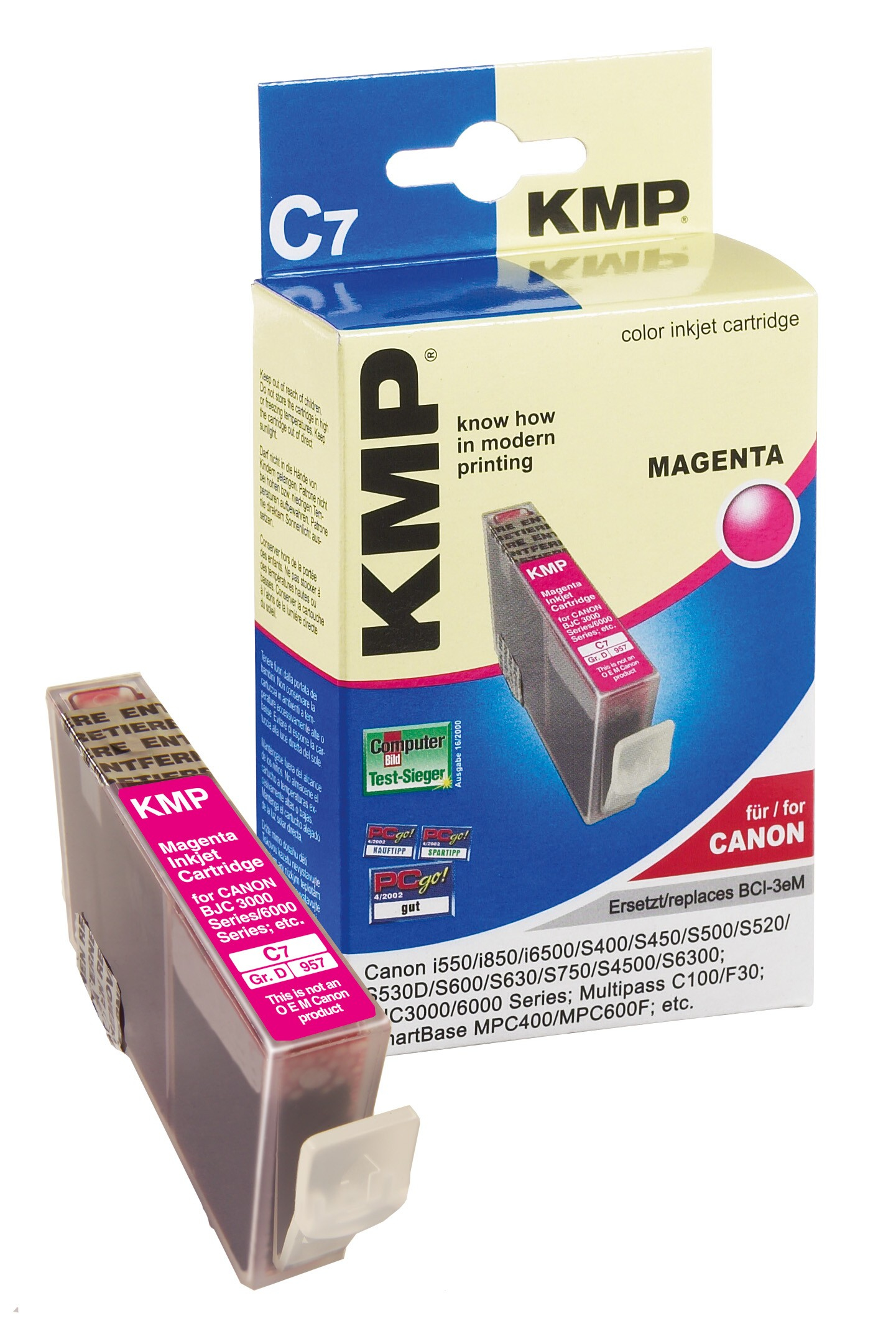 KMP C7 ink cartridge magenta compatible with Canon BCI-3e M