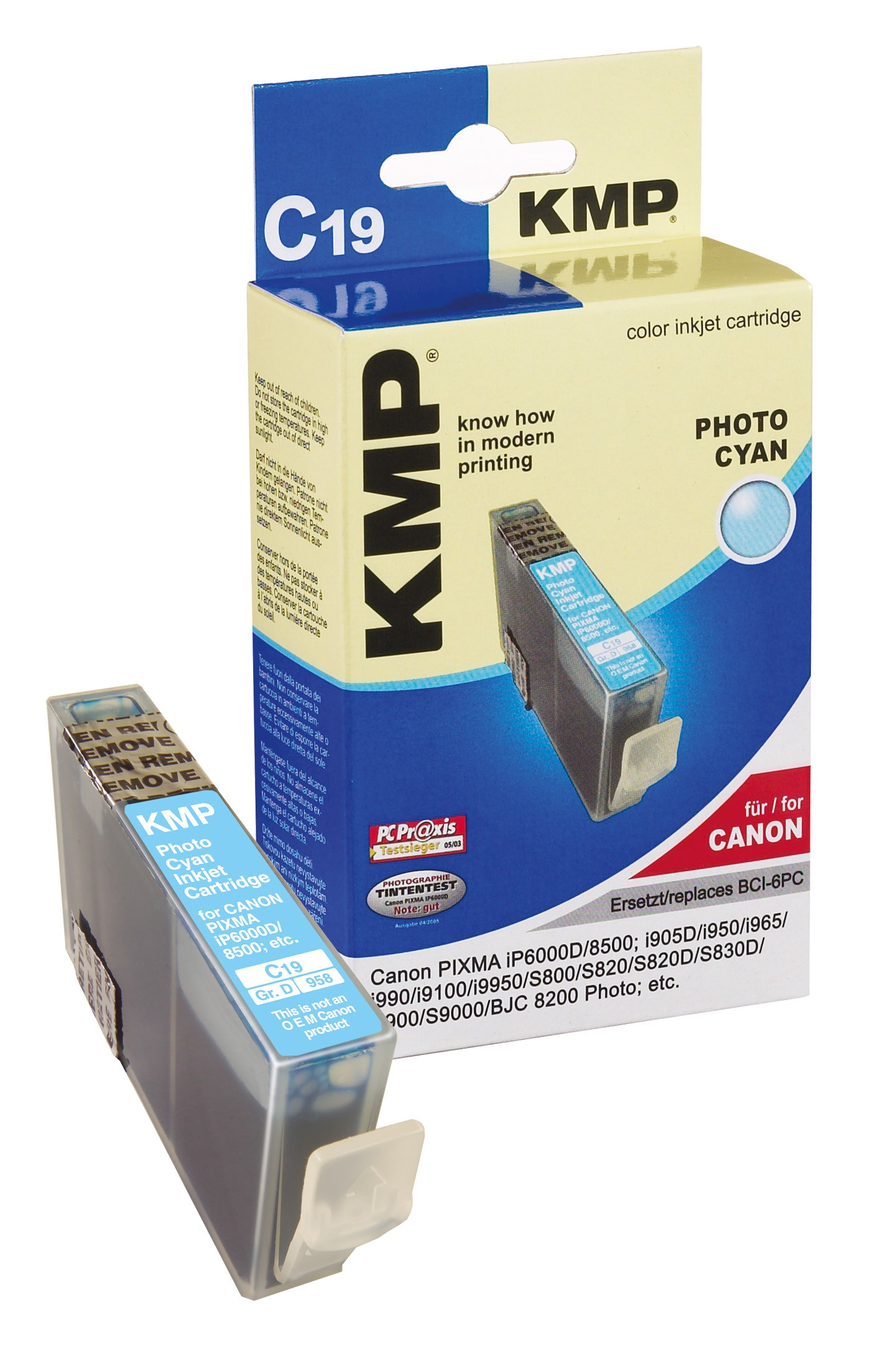 KMP C19 ink cartridge photo cyan compatible with Canon BCI-6 PC