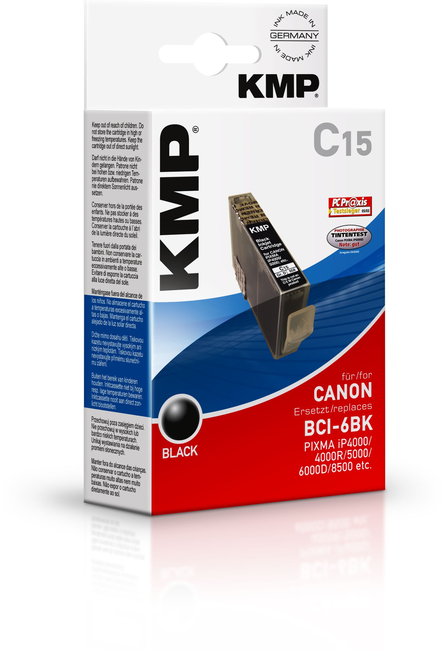 KMP C15 ink cartridge black compatible with Canon BCI-6 BK