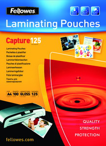 Fellowes Glossy 125 Micron Card Laminating Pouch - 65x95 mm