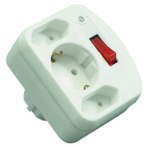 REV 3-fold Adapter with switch and Surge protector     white
